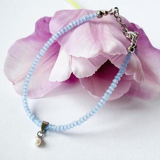 Тонкий браслет из аквамарина с подвеской Браслет Подарок девушке (модель № 685) JK jewelry