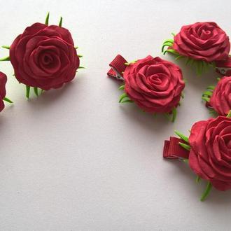 """Заколки из фоамирана """"роза"""""""