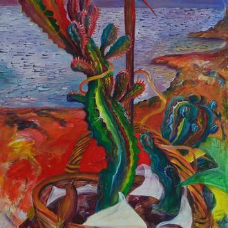 """Картина """"Кактус и птица"""". Акриловая живопись"""