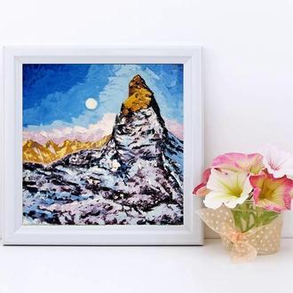 Картина Місячна ніч в горах Авторський живопис олією