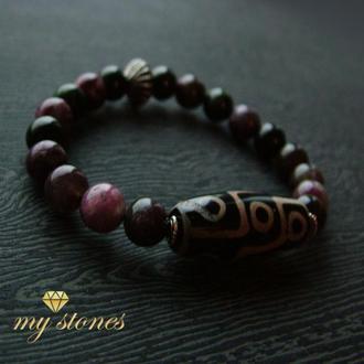 "Браслет из турмалина и серебра с бусиной Дзи ""Purple berries"""