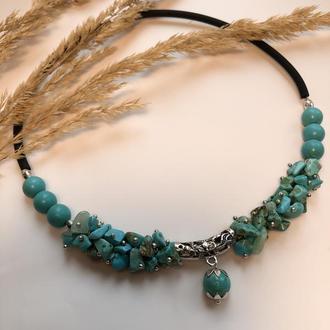 Ожерелье-чокер с бирюзой