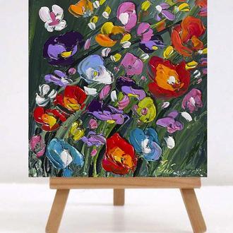 """Интерьрная картина """"Польові квіти"""" р 18х18 см масло\полотно галерейної натяжки"""