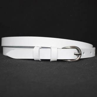 Ремень белый кожаный тонкий женский classic1w15