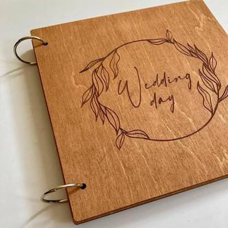 Книга пожеланий на свадьбу 21х21 см на 30 листов   Индивидуальная гравировка  