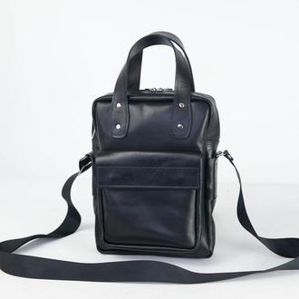"""Мужская кожаная сумка """"Арнольд"""", кожа итальянский краст, цвет  черный"""