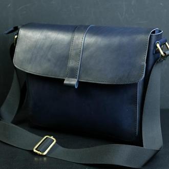 """Мужская кожаная сумка """"Патрик"""", кожа итальянский краст, цвет синий"""
