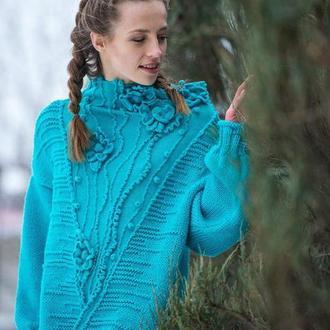 Вязаный синий массивный богемный шерстяной женский свитер оверсайз