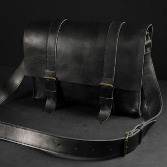 """Мужская кожаная сумка """"Кемерон"""", кожа итальянский краст, цвет  черный"""