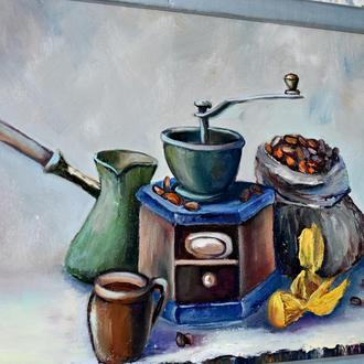 Кавово цукерковий настрій, живопис, картина 25х35см