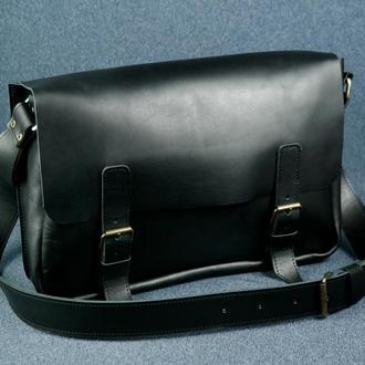"""Мужская кожаная сумка """"Джоерман"""", кожа итальянский краст, цвет черный"""