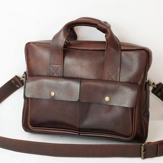"""Мужская кожаная сумка """"Бенджамин"""", кожа итальянский краст, цвет вишня"""