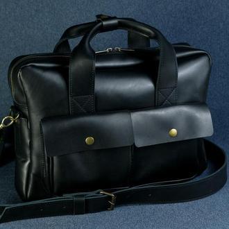 """Мужская кожаная сумка """"Бенджамин"""", кожа итальянский краст, цвет черный"""
