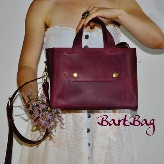 """Кожаная сумка """"Аннабелл"""" винного цвета"""