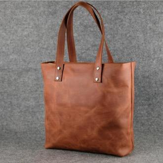 Женский кожаный шоппер большой, винтажная кожа, цвет коньяк