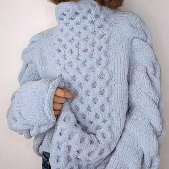 Женский свитер плюшевый вязаный ручная работа