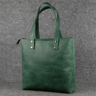 Женский кожаный шоппер большой, винтажная кожа, цвет зеленый