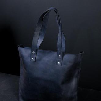 Женский кожаный шоппер большой, винтажная кожа, цвет синий