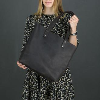 Женский кожаный шоппер большой, винтажная кожа, цвет шоколад