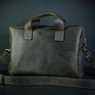 "Мужская кожаная сумка ""Стивен"", винтажная кожа, цвет шоколад"