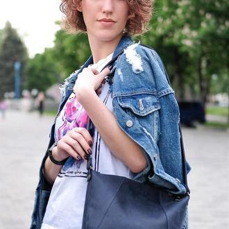 Женский кожаный шоппер Диамант, винтажная кожа, цвет синий