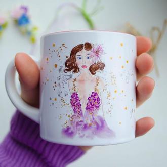 """Чашка с девочкой в цветущем платье """"Love inside"""". Чашка на подарок"""