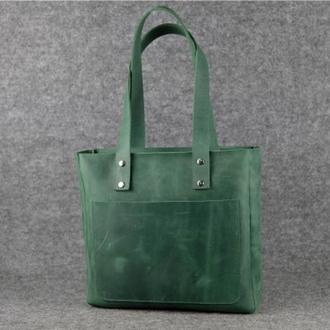 Женский кожаный шоппер повседневный,  винтажная кожа, цвет зеленый