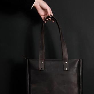 Женский кожаный шоппер повседневный,  винтажная кожа, цвет шоколад