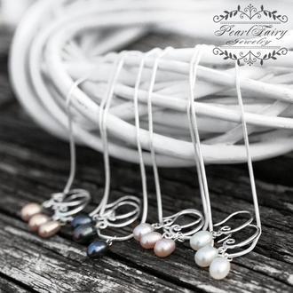 4 кольори: срібний комплект з натуральних перлів: сережки, підвіска, ланцюжок