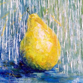 Оригинальная живопись маслом на холсте Осенняя груша Картина интерьерная