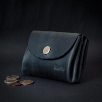 Женский кожаный кошелек с отделением для монет (темно-синий)/подарок для девушки