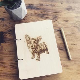 Эко блокнот с деревянной обложкой стильный из дерева записная книжка скетчбук с корги