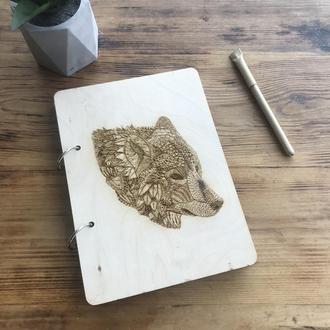 Эко блокнот с деревянной обложкой стильный из дерева записная книжка скетчбук волк