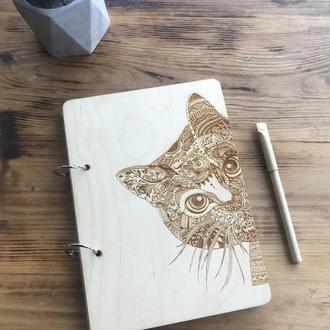 Эко блокнот с деревянной обложкой стильный из дерева записная книжка скетчбук Кот