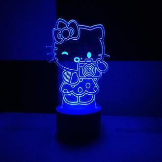 Китти, ночник, светильник, LED лампа, игрушка, для детской, подарок ребенку, сувенир