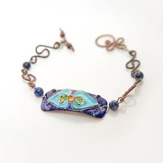 """Браслет """"Синій лотос"""" з емаллю та кованими мідними елементами"""