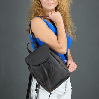 """Женский кожаный рюкзак """"Токио"""", размер мини, винтажная кожа, цвет шоколад"""