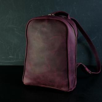 """Кожаный женский рюкзак """"Анталья"""", винтажная кожа, цвет  бордо"""