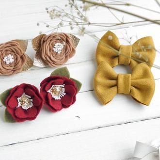 Резинки для малышей Осенний набор резинок для девочки с цветами бантиками