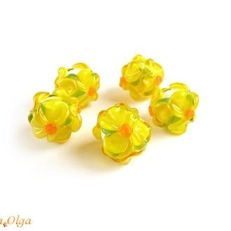 Намистини скляні «Квіти жовті» лемпворк
