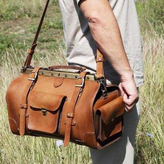 Шкіряна дорожня сумка з коричневої шкіри ручної роботи, ручна поклажа, сумка Gladstone, Саквояж