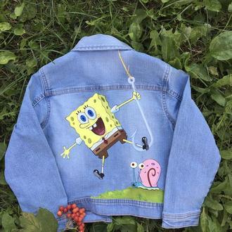 Детская джинсовая куртка с росписью