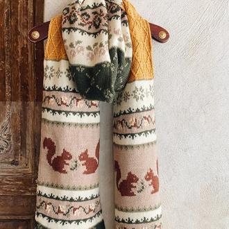 Вязаный шарф с белочками «Шервуд»