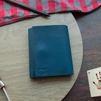 Кожаный кошелёк (Синий) Green Wallet