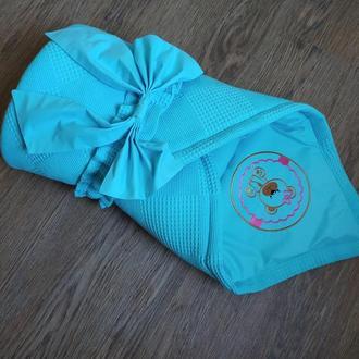 Конверт на выписку одеяло кроватку плед в коляску новорожденному малышу подарок