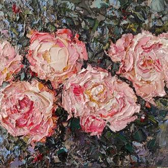 """Авторська картина маслом """"Рожеві троянди"""""""