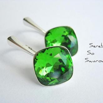 Серебряные серьги со Сваровски