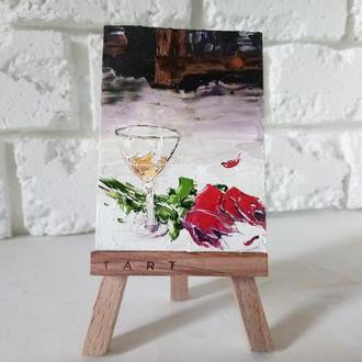 Мініатюра картина маслом Келих шампанського