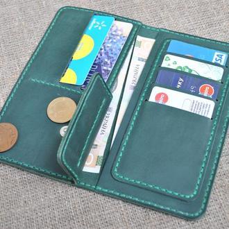 Красивый кошелек зеленого цвета из натуральной кожи K07-350