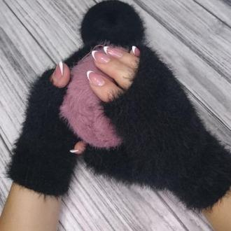 Пушистые митенки - черные  женские перчатки без пальцев